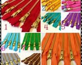 Metal zippers, 9 inch brass YKK zips, gold teeth, Choose 25, brown, grey, red, pink, orange, purple, green, turquoise, black, white, blue