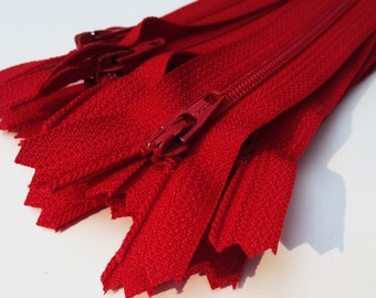 Red dress YKK zippers, 10 pcs, choose size, 4, 5, 6, 7, 8, 9, 10, 12, 14, 16, 18, 20 inches, all purpose zips, red YKK 519