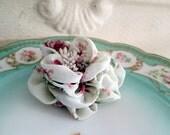 Vintage Fabric flower Brooch Pink rose Print