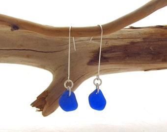 Long Leg Beach Glass Earrings - Cobalt