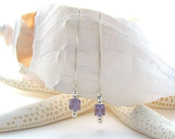 U Threaders w/Swarovski Cubes in Tanzanite