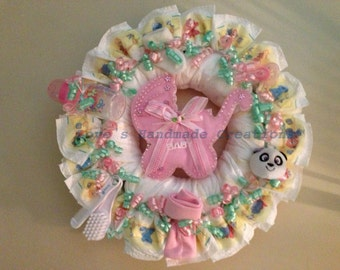 Girl Diaper Wreath Pink