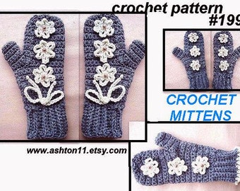 INSTANT DOWNLOAD Crochet Pattern PDF 190 Crochet Mittens Pattern -all sizes  Grey Mittens with Cream Flowers