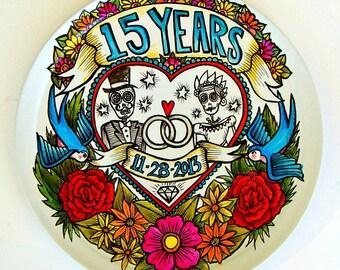 "Anniversary Plate 14"" Painted Day of the Dead Valentine's Love Decorative Platter Flowers Birds Dia De Los Muertos Folk Art Wedding Custom"