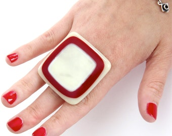 Big Cocktail Ring Glass  - bold oversize handmade adjustable ring - PEPPERMINT CREAM - 1.75 inch