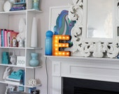 "Letter Light E - RUSTY - 12"" Vintage Marquee Lights-The Original!"