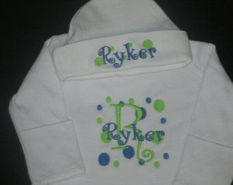Personalized Infant Gown and Cap set Monogrammed