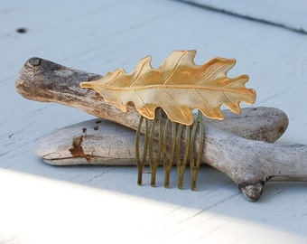 Golden LEAF Hair Comb Woodland Whimsical Nature Bridal Gold Oak LEAF Fairy Wedding Autumn