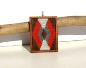 Needlepoint Chocolate Fall Geometric Mahogany Base Necklace Pendant