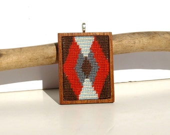 Needlepoint Chocolate Fall Geometric Mahogany Base Necklace Pendant