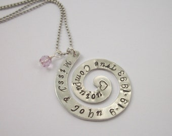 Design Your Own - Expressions - Jewelry With A Statement - Aluminum Swirl Necklace - Anniversary, Special Message, Favorite Saying