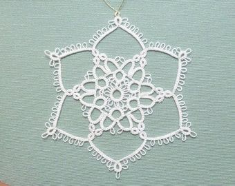 Tatted Lace Christmas Ornament Snowflake -Bright Flake -MTO many color options
