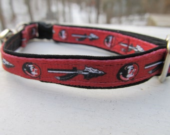 Florida State University Seminoles Cat or Small Dog Collar with Option of Black or Gold Backing