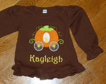 """Personalized Embroidered Long Sleeved Shirt """"Princess Pumpin Carriage"""""""