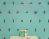 starburst mid century wall decal pattern set, vinyl art, coronata star decals