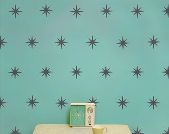 starburst mid century wall decal pattern set, vinyl art, coronata star decals, FREE SHIPPING