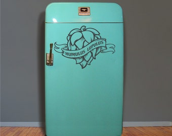 hops craft beer fridge decal, kegerator vinyl sticker, craft beer, hop head, wall decal, FREE SHIPPING