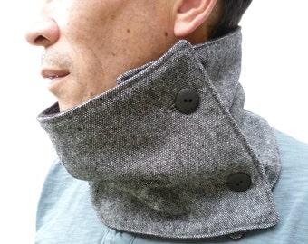 Mens Neckwarmer Scarf - Black/Grey Tweed