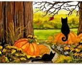 Black Cats in Autumn 10 -  Art Prints or ACEO by Bihrle