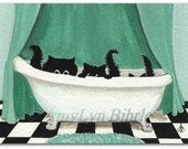 Three Black Cats - Bathroom Art Prints or ACEO by Bihrle ck353