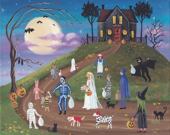 Halloween Bandits Folk Art 10 x 8 Print