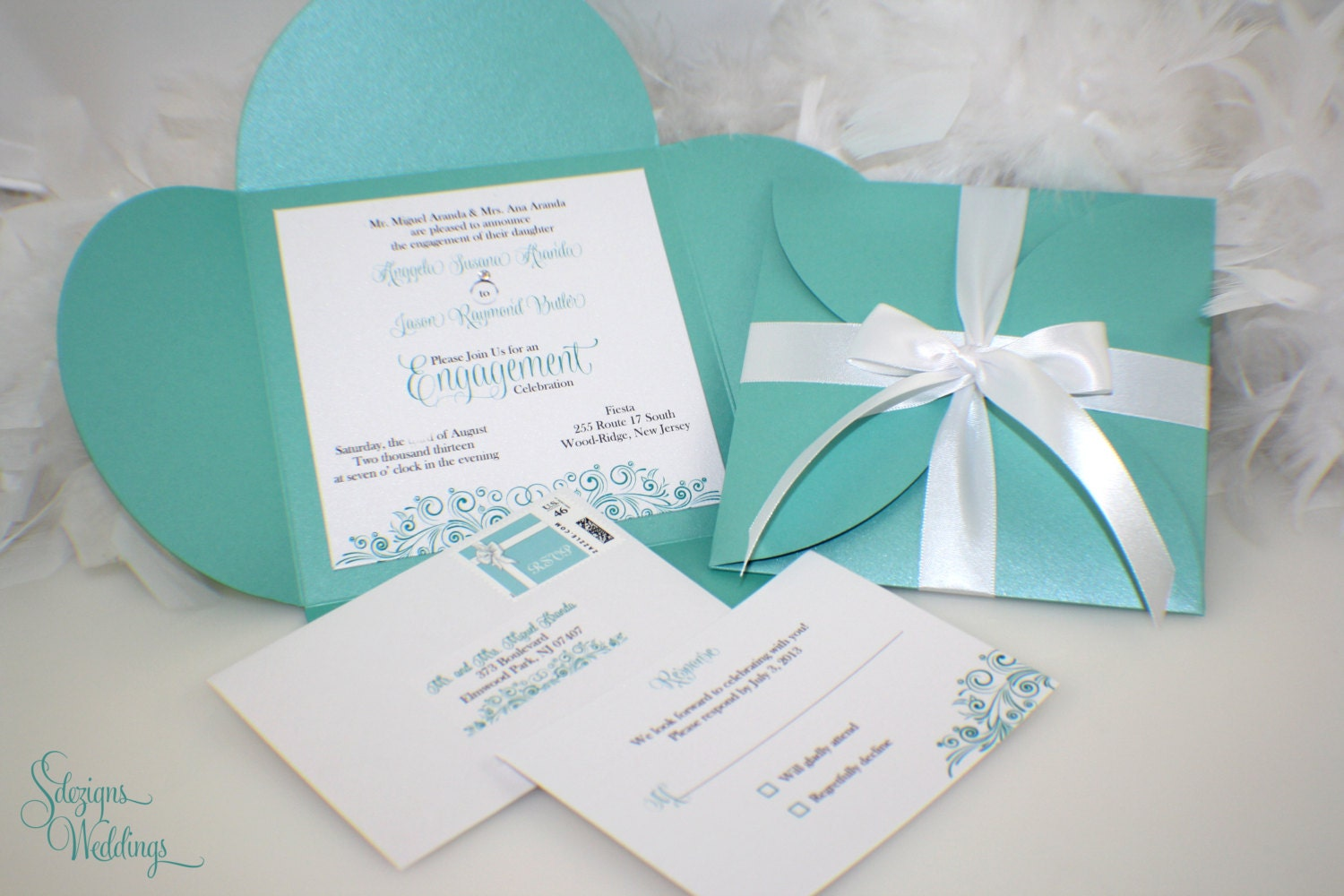 Engagement Party Invitations Aqua Blue Turquoise Gift – Engagement Party Invitations Etsy