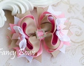 School Uniform hair bow. Khaki and pink. Back to school  Stacked Boutique Bow