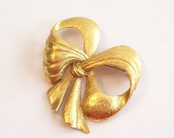 Rare Renoir Sauteur Bow Pin Brooch, Golden Glow Gold Plated Bow Ribbon Pin Brooch