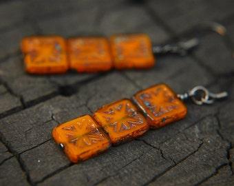 Minimalist Dangle Earrings Geometric Glass Beaded Pumpkin Orange - Halloween in Paris.