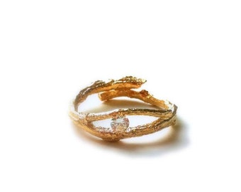 golden tree branch ring with zircon stone