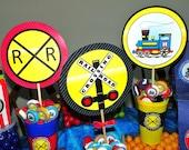 Train Party Centerpiece Picks (3). Kids Train Theme Birthday Party. Train Centerpiece. Choo Choo Party Table Decorations. Table Centerpieces