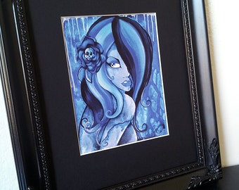 Blue Goth Girl Zombie Pinup with Stitches matted art print
