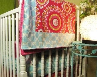 Baby bedding   baby girl bedding  in Kumari Garden   includes bumper set , fitted sheet, minky blanket and crib skirt
