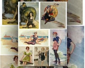 Ladies in Swimsuits By the  Sea Shore Digital Collage Sheet Vintage Color  Illustrations Large Images Instant Printable Download