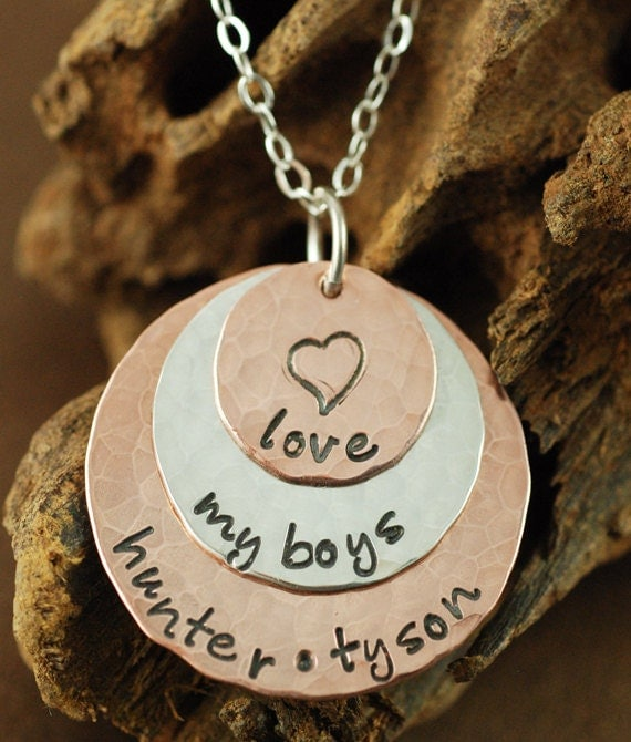 Hand Stamped  Necklace - Copper Sterling Mixed Personalized Discs - Hammered, Daughter Necklace