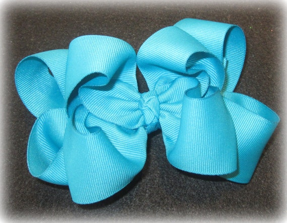 Hair Bows, Big Hairbow, Mystic Blue Bow, Boutique hairbow, Blue Double Layered Bow, Baby Hairbow, Girls Headband, Girls Bows, Girls Blue Bow
