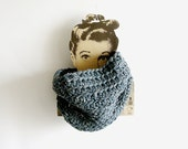 Dusty Blue Crochet Cowl Unisex Scarf Man Woman Neckwarmer