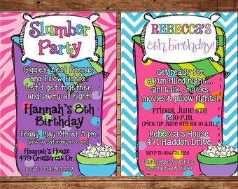 Girl Slumber Party Pajama Sleepover Spend the Night Sleeping Bag Birthday Invitation - DIGITAL FILE