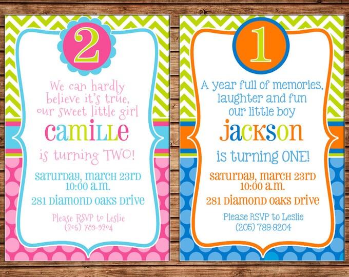 Girl or Boy Age Number Milestone Chevron Polka Dot Shower Party Birthday Invitation - DIGITAL FILE