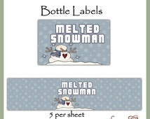 Melted Snowman Water Bottle labels - Dgital Printable - Immediate Download