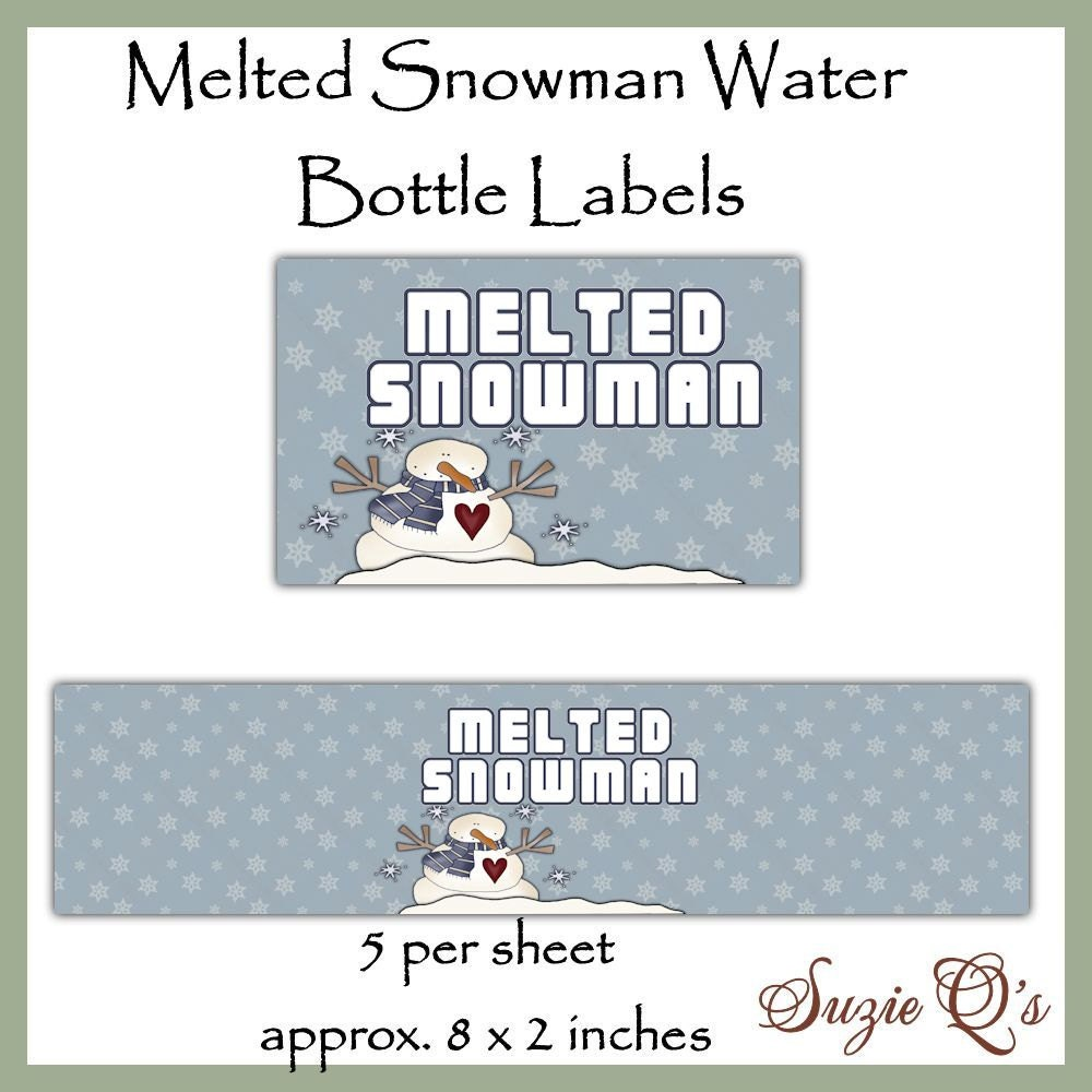 Melted Snowman Water Bottle Labels Dgital Printable