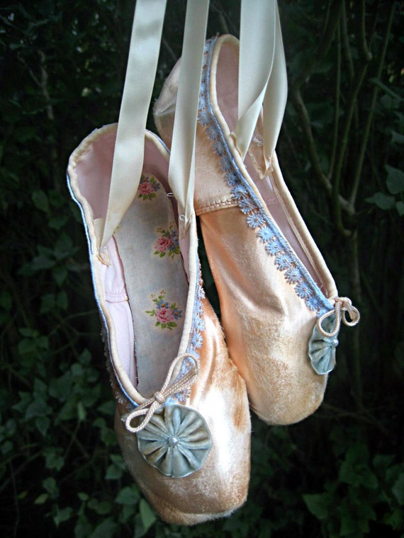 Altered ballet pointe/toe shoes, distressed, vintage dyed trim and velvet accents, Jeanne d'arc living style