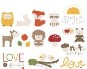 Forest Cuties Digital Clipart Clip Art Illustrations - instant download - limited commercial use ok