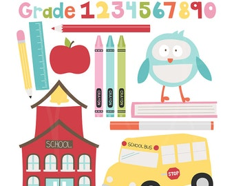 Back to School Digital Clipart Clip Art Illustrations - instant download - limited commercial use ok