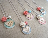 Personalized  Bridesmaid Gift, Birch Bark Heart Monogram Letter Initial Necklace, Bridesmaids Jewelry, Choose Aqua Coral Blue Lavender Teal