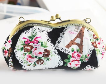 Lace Rose and Tower Eiffel Cosmetic Bag black (Cosmetic Case, Makeup Pouch, Travel Bag, Cotton Fabric, Metal Frame)