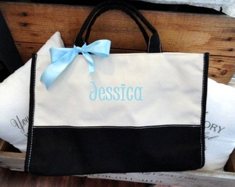 Personalized Black and Natural Canvas Bridesmaid Wedding Party Tote, Bag With Zipper