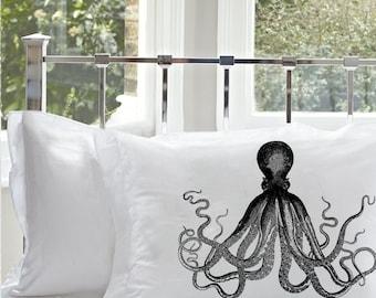 Black deep sea tales OCTOPUS Ocean Beach decor tentacles art punk pulp vintage ship retro sailor squid Nautical Pillowcase pillow cover