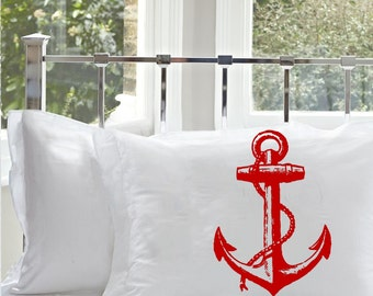 One (1) Red NAUTICAL Ship's Anchor PILLOWCASE pillow cover
