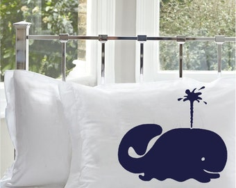 2 Two Nautical Navy Blue Whale Pillocase covers